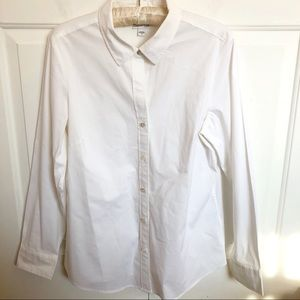 J. Jill white long sleeve button up blouse top
